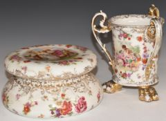 German footed tyg and a covered dish, probably Volkstedt, signed Haufmann and Boucher