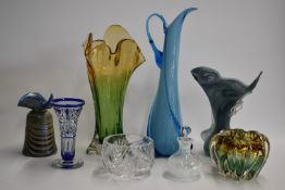 Eight pieces of clear and coloured glassware including two Murano vases, flash overlaid trumpet