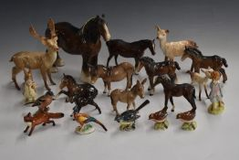 A large collection of Beswick horses, foals, birds, wild animals and Beatrix Potter figures, tallest