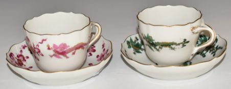Two Meissen cups and saucers decorated with green and puce dragons, H6cm