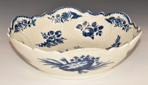 Worcester first periodrelief moulded pedestal bowl with gadrooned rim, decorated in the Pine Cone