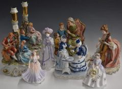 Three Capodimonte figures, a pair of Capodimonte figural lamps and three Royal Worcester