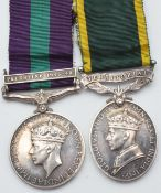 British Army General Service Medal with clasp for Palestine 1945-48 and Territorial Efficiency Medal