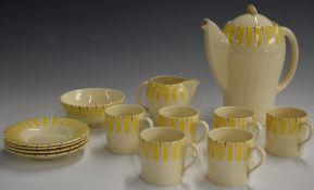 Susie Cooper part coffee set in a sunray design, pattern no 8601, H18cm