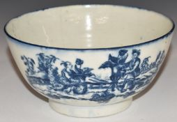 Worcester first period blue and white pedestal bowl decorated with chinoiserie scenes, D16 x H8cm