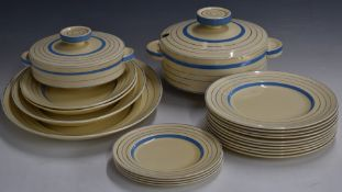 Approximately forty five pieces of Clarice Cliff for Wilkinson pottery Art Deco dinner ware