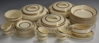 Approximately 129 pieces of Burleighware Burgess and Leigh Art Deco dinner and tea service decorated