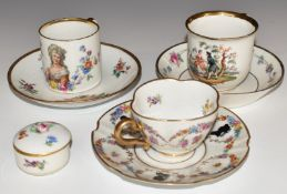 Three Meissen cups and saucers and covered trinket pot variously decorated with Watteau scenes,