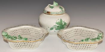 Herend porcelain covered pot and a pair of pierced dishes with applied flower decoration, tallest