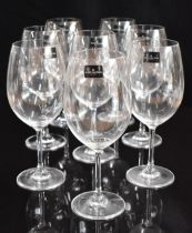 A set of eight Dartington F200/35 red wine glasses, new with stickers in original box, 23cm tall.