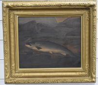 A. Roland Knight (British,1879-1921) watercolour of a salmon having been caught, with river