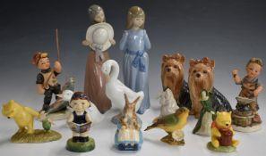 Lladro, Nao, Goebel Hummel, Sylvac, Beswick and Royal Doulton figures, tallest 25cm