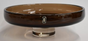Whitefriars pedestal fruit bowl in cinnamon with Whitefriars sticker, 25.5cm diameter, 9cm tall.