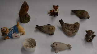 Beswick eagle and fox, together with four Cornish Pottery seals etc