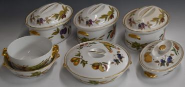 Five Royal Worcester tureens decorated in the Evesham pattern and two bowls