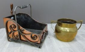 Arts & Crafts coal scuttle in the manner of WAS Benson with wrought iron and copper work (W31 x