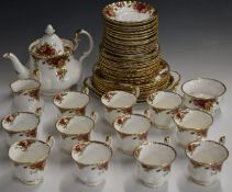 Approximately fifty three pieces Royal Albert Old Country Roses dinner and tea ware