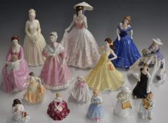 A collection of approximately fifteenfigurinesincluding Royal Worcester, Coalport, Royal Doulton