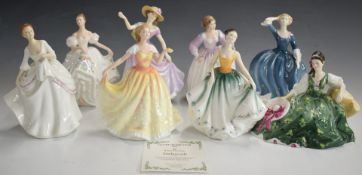 Eight Royal Doulton figurines including Figure of the Year Deborah, with certificate