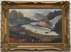 Oil or acrylic on canvas salmon with fishing rod blanket and book on a riverbank, 39 x 59cm, in gilt