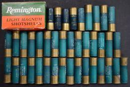 Fifty Remington 12 bore magnum shotgun cartridges, some in original box. PLEASE NOTE THAT A VALID