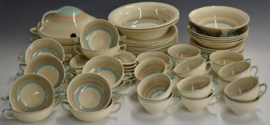 Approximately 125 pieces of Susie Cooper dinner service decorated with concentric circles
