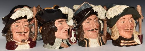 Eight largeRoyal Doulton character jugs including Four Musketeers