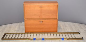 Retro / mid century Ladderax components, to include fall front bureau / desk with fitted interior,