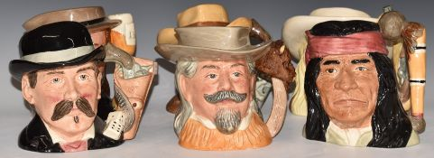 Six large Royal Doulton Wild West Series character jugs