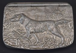 James Dixon & Sons of Sheffield snuff box with embossed scene of a dog and man shooting to the