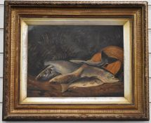 Oil on panel study of a catch of salmon and trout / sea trout with creel behind, 29 x 39cm, in