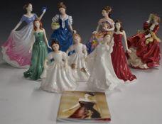Nine Royal Doulton figurines including Amanda, May etc