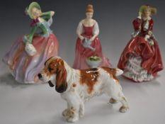 Royal Doulton Spaniel HN1036 and three Royal Doulton figurines including Autumn Breezes, Alexandra