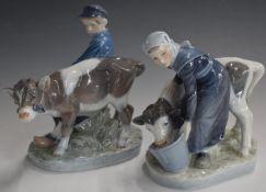 Pair of Copenhagen figures of children with calves, tallest 17cm