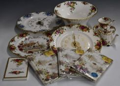 Royal Albert Old Country Roses clock, large pedestal flared bowl, novelty teapot etc