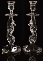 A pair of Waterford Crystal figural candle sticks in the form of seahorses one with original