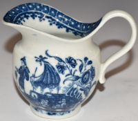 An 18thC Worcester first periodjug decorated in the Fisherman pattern, H8cm
