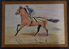 David Masters oil / acrylic on board, entitled Red Rum, Off to Work on Southport Sands, 31.5 x 46cm