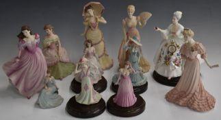 Ten Coalport figurines including Montpellier Walk, Opening Night, Richmond Park, On The Balcony,