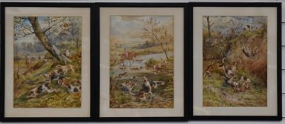 Arthur Alfred Davis (b 1859 fl 1877-1905) three watercolour hunting scenes, all signed and dated