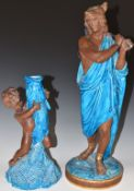 Two Royal Worcester majolica figures Hunter and Fisher Boy