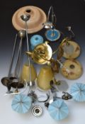 A collection of vintage light fittings and glass shades, chrome and brass fittings, Art Deco