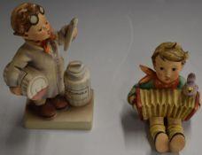 Hummel Goebel figures 'Little Pharmacist' 04 1955, 14cm and 'Lets Sing' 110/1 1939