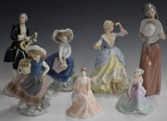 Three Lladro and two Coalport figurines, a Wedgwood Little Bo Peep and a Royal Dux musician, tallest