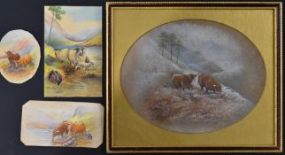 Watercolour study of highland cattle in a snowy landscape, possibly by a Royal Worcester artist,