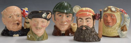 FivelargeRoyal Doulton character jugs comprising Churchill, Captain Scott, WG Grace, The Sleuth