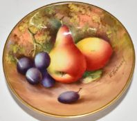 Royal Worcester painted fruit pin dish signed E Townsend, diameter 8cm