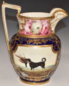 A 19thC English porcelain pedestal jug with two hand decorated cartouches of a hunting dog with