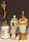 A pair of porcelain electric table lamps and three others with metal mounts, tallest 59cm