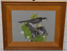Howard Tomblin (ex Gordon Russell employee) watercolour sparrow and starling, 38 x 48cm
